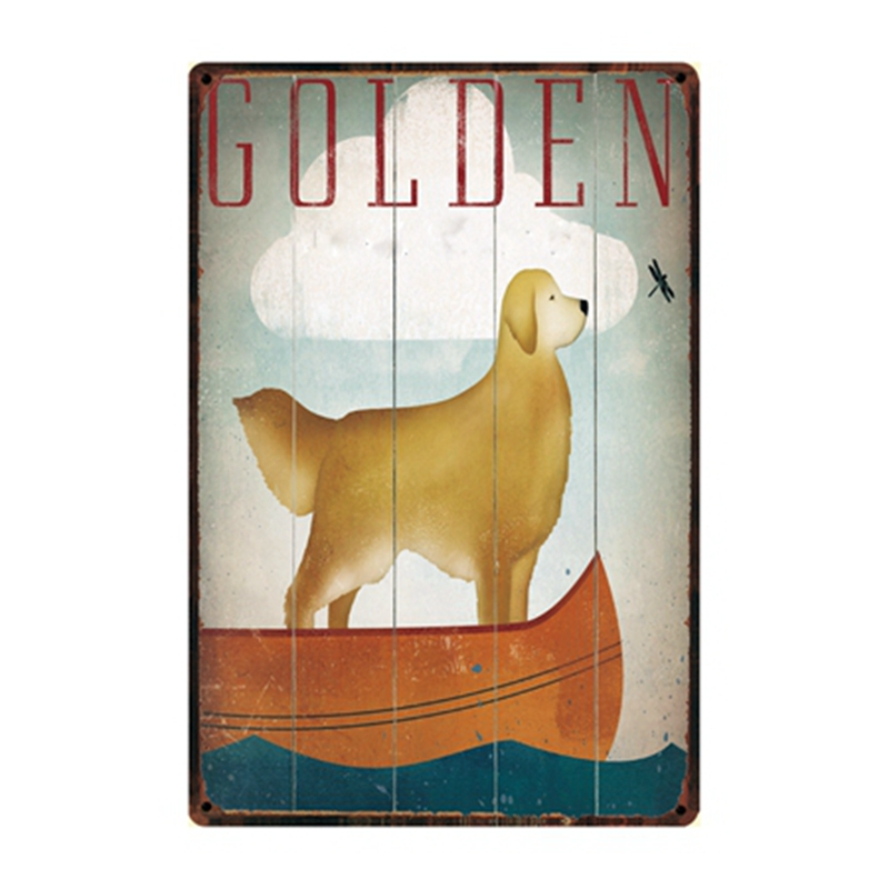 [ Kelly66 ]  Dogs Colden Metal Sign Tin Poster Home Decor Bar Wall Art Painting 20*30 CM Size y-2226