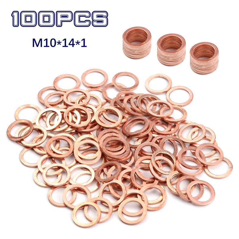 100/20Pcs 10*14*1MM Copper Sealing Washer Solid Gasket Sump Plug Oil For Boat Crush Washer Flat Seal Ring Tool Parts Accessories