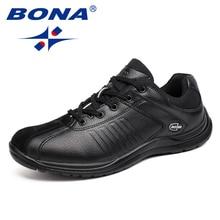 BONA yeni stil erkekler rahat ayakkabılar Lace Up el yapımı mikrofiber erkek ayakkabısı rahat düz ayakkabı erkekler yumuşak ışık hızlı ücretsiz kargo