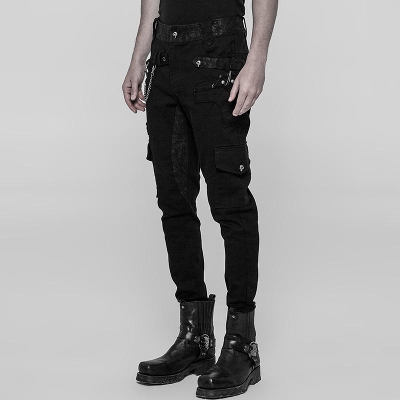 Bleistift Schwarz Lange Punk Streetwear Schwarzes Casual Mode Metall Hosen Hip Hop Männer Schwere Rave HqrPwH7Z