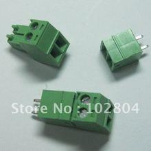 20 шт. 2pin/way шаг 3,5 мм Винт Клеммная колодка Разъем зеленый цвет T тип с pin