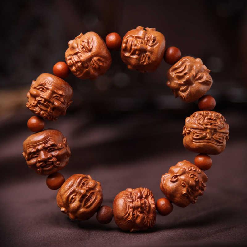 Rzeźbione mahoniowe 18 arhatów bransoletka narodowy naturalny wiatr bransoletka sprzęt bezpieczeństwa beadwork