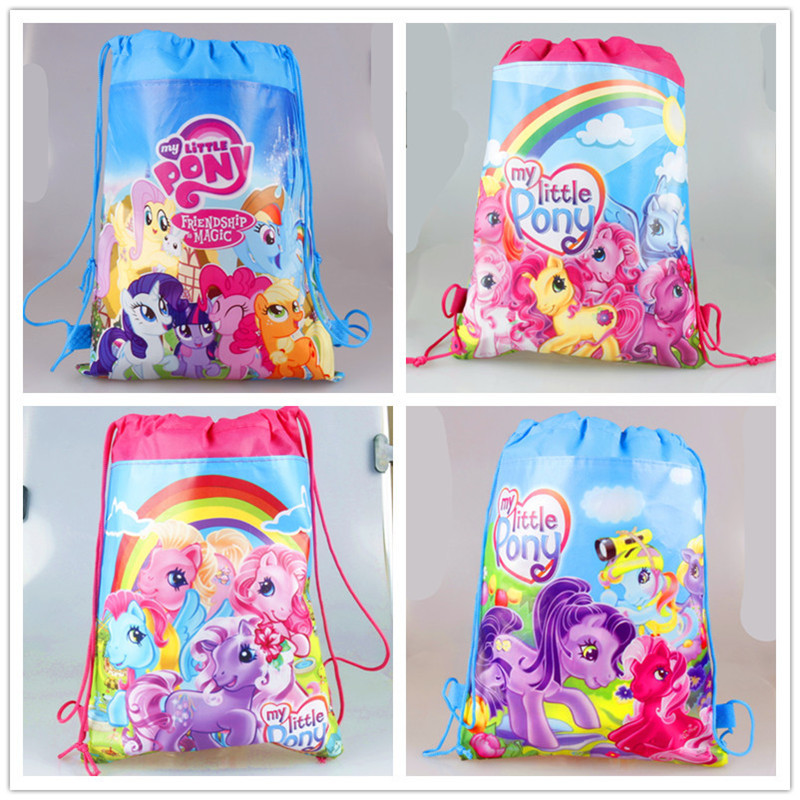 24pcs/lot Kids Favors My little pony Non-Woven Fabric Backpack Gift Bags Birthday Party Decoration Drawstring Bags Baby Shower