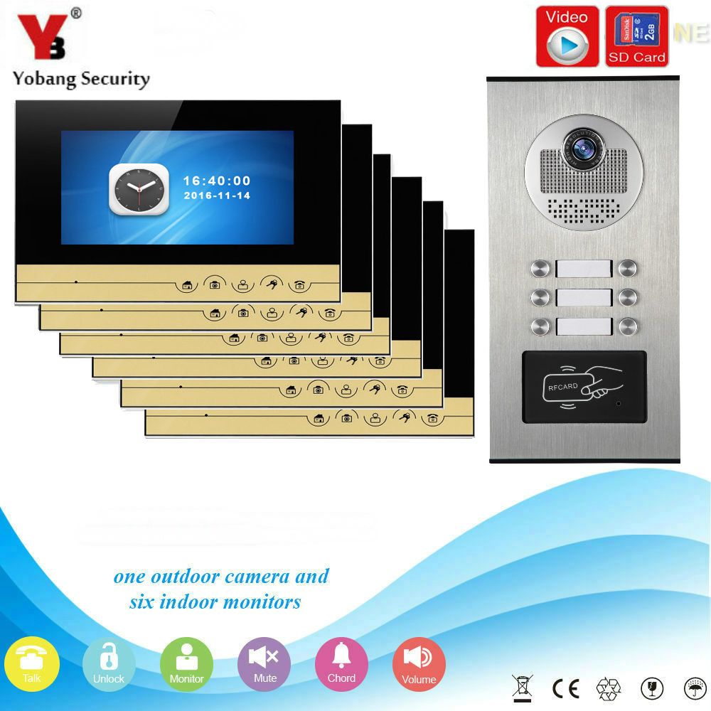 YobangSecurity Video Intercom 7Inch Video Door Phone Doorbell Chime RFID Access Control  ...