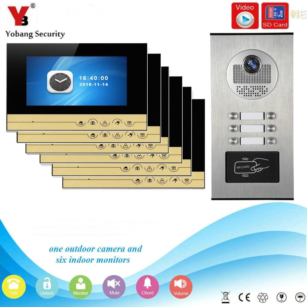 YobangSecurity Video Intercom 7Inch Video Door Phone Doorbell Chime RFID Access Control  ...