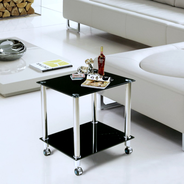 Superb Printer Tables Minimalist Sofa Side A Few Small Coffee Table Glass Corner  Mobile Rack Black Square