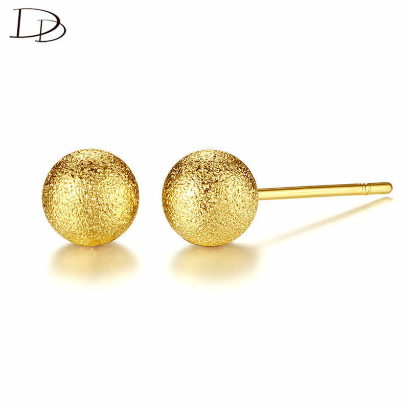 9257cfa14164a DODO Simple 6mm Sand Face Gold Ball Stud Earrings For Young Women Fashion  Daily Wear Chic Ear Jewelry Brincos Wholesale E200