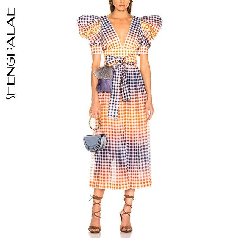 SHENGPALAE Sexy col en V Plaid robes taille haute bouffée à manches courtes Hit couleur longue robe femmes 2019 printemps décontracté mode FN463
