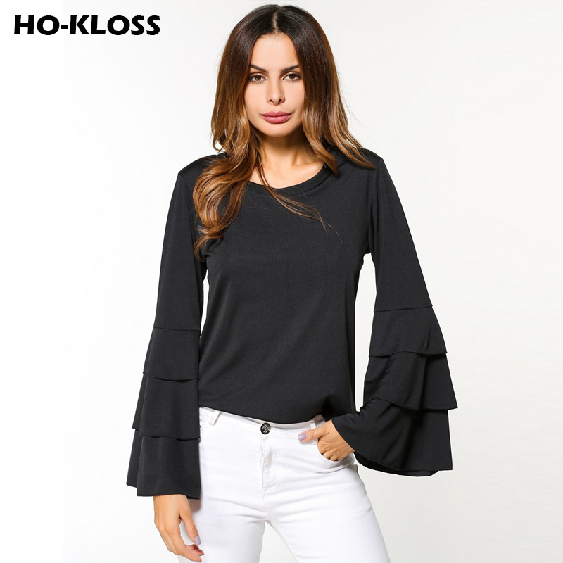 Black Ruffle Long Sleeve Blouses Women Shirts Tiered Bell ...