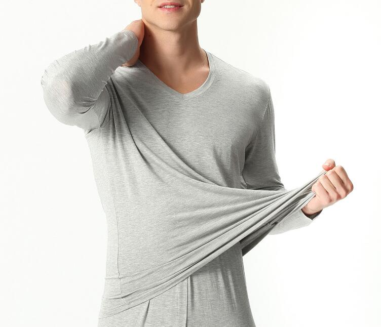 Autumn Winter Bamboo Fiber V-neck Warm Long Johns Set For Men Ultra-Soft Solid Color Thin Thermal Underwear Men's Pajamas 7XL