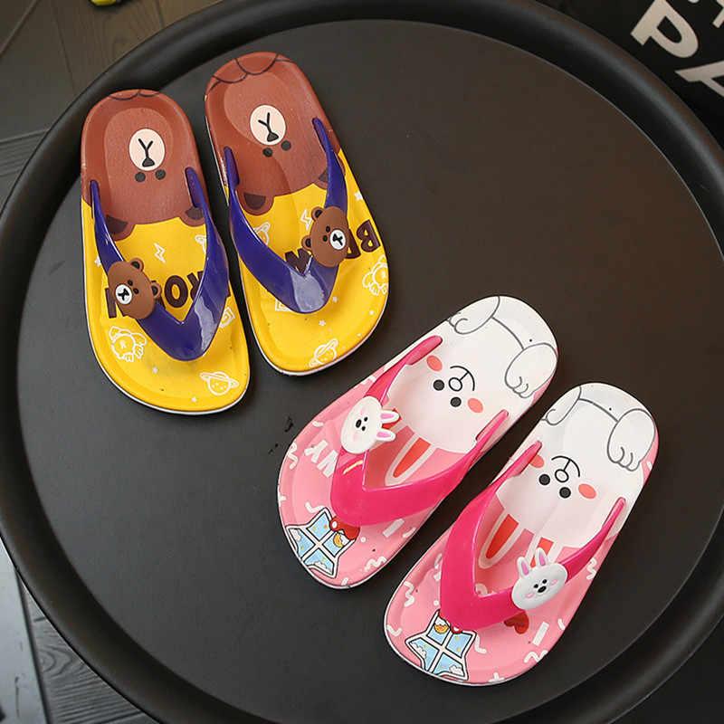 夏の少年少女漫画のフリップは、スリッパの靴のキッズベビーローファー水泳ウサギスリッパ若い 3-8Years