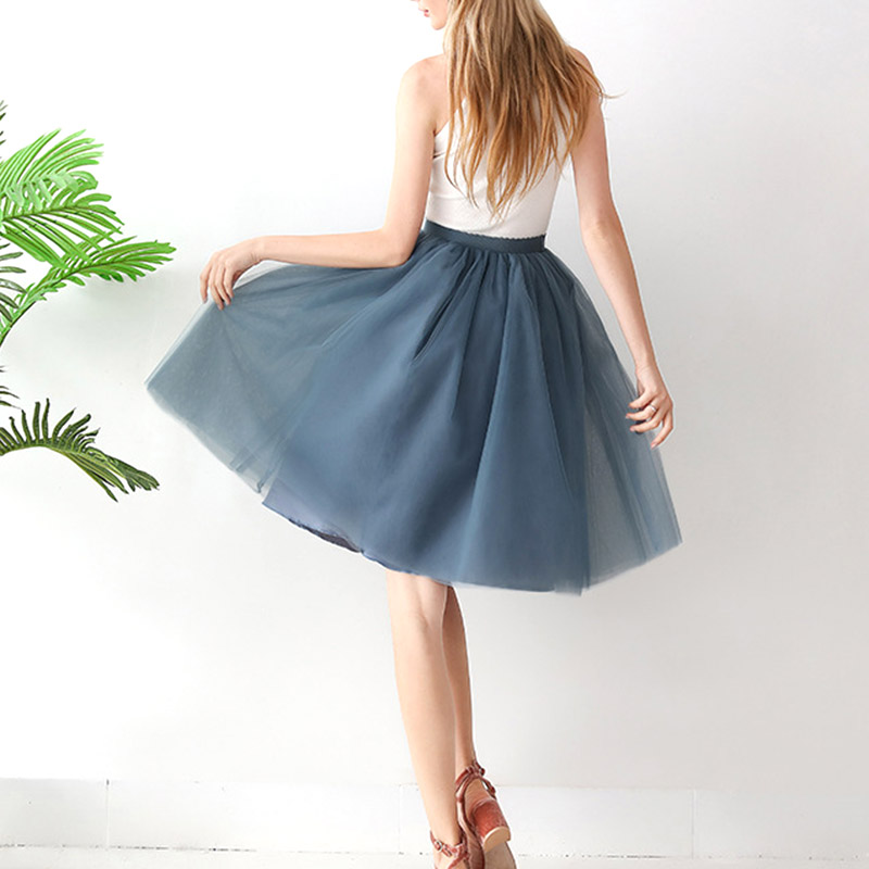 295ecd85d Faldas de tul para mujeres Droppshiping Falda plisada Simple con volantes  de Color sólido para ...