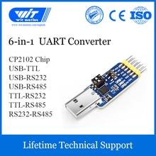 Witmotion USB UART 6 em 1 conversor, multifuncional (USB TTL/rs485/232, TTL RS232/485,232 485) adaptador serial, com módulo cp2102