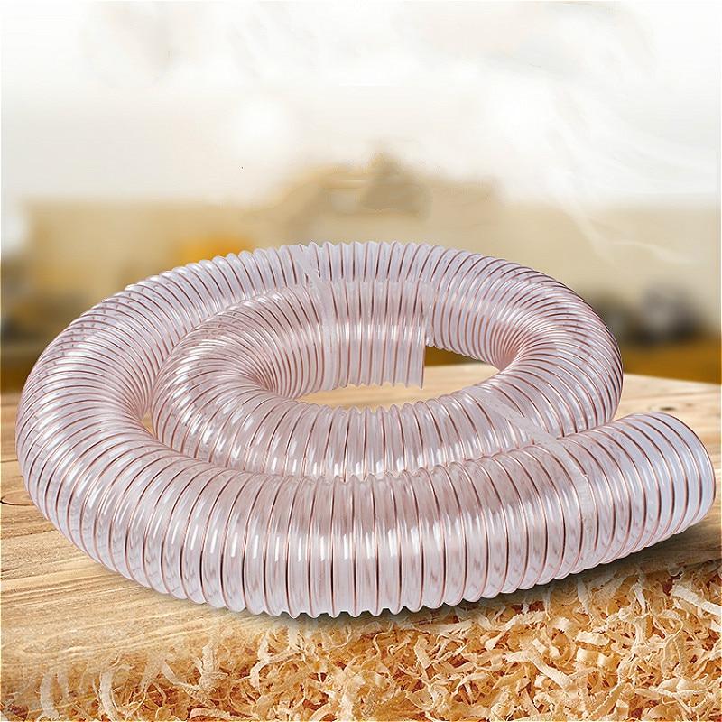 "Clear Reinforced Industrial Vacuum Flexible Dust PVC Hose 4/"" 12 Ft"