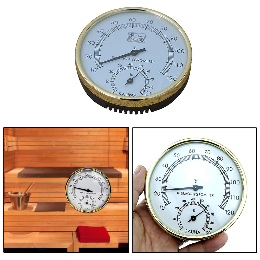 Stainless Steel Edge Thermometer Metal Case Steam Sauna Room Thermometer Hygrometer Bath And Sauna Indoor Outdoor Used