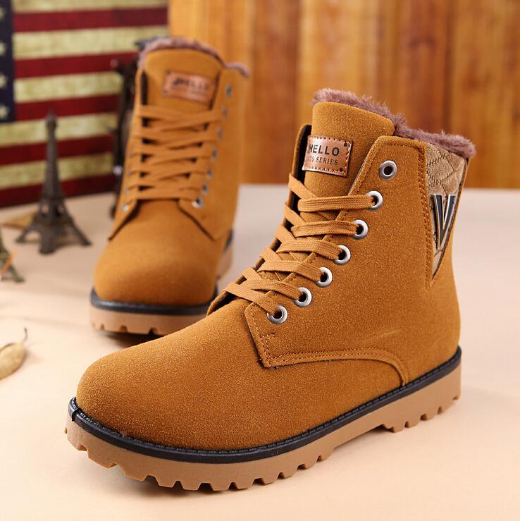 Restoring Martin camel boots men shoes winter Fashion gentlemen top fur  leather brown black color warm shoes male promotion Free-in Ankle Boots  from Shoes ...