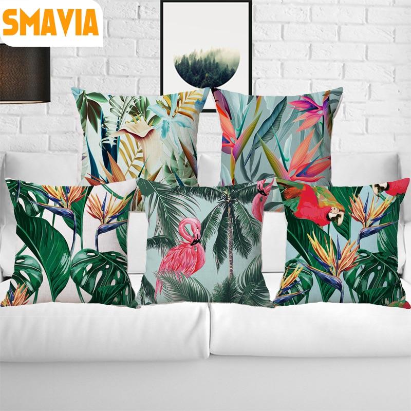 SMAVIA 2018 Super Hot Green Leaf Flamingos Cushion Cover Polyester&Linen Printing Pillow Cove Throw Sofa Car Chair Pillowcase