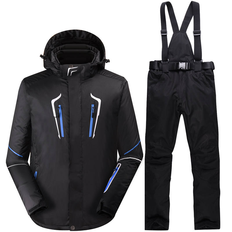 New black Man Snow clothes outdoor snowboarding suit sets waterproof winter Costumes skiing suit sets jackets + bibs pants -30 black snow