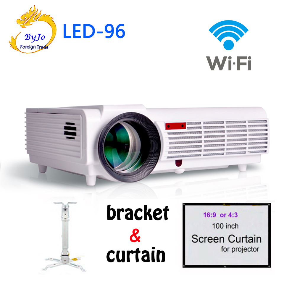 Poner Saund LED96 wifi led projector 3D With curtain and bracket HDMI Video Multi screen Home theater system 3D projetor bt96 poner saund dlp100w pocket hd portable dlp projector micro wireless multi screen mini led battery hdmi usb portable home cinema