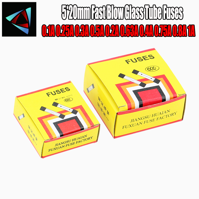 100pcs/lot One Sell 5*20mm Fast Blow Glass Tube Fuses 5x20 250V 0.1A 0.25A 0.3A 0.5A 0.2A 0.63A 0.4A 0.75A 0.8A 1A AMP Fuse