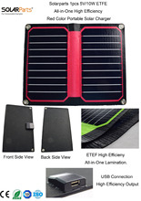 Solarparts 1x 5V 10W Red color ETFE lamianted all in one high efficiency portable solar charger