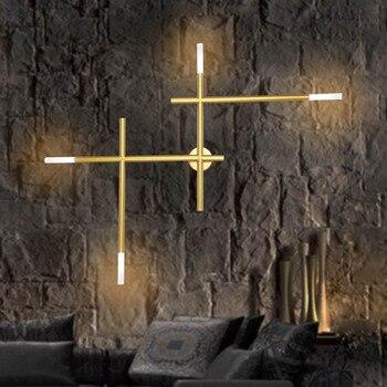Современная Скандинавская железная труба, светодиодная настенная лампа, Ночной светильник для спальни, гостиной, прохода, бра, светильник, ...