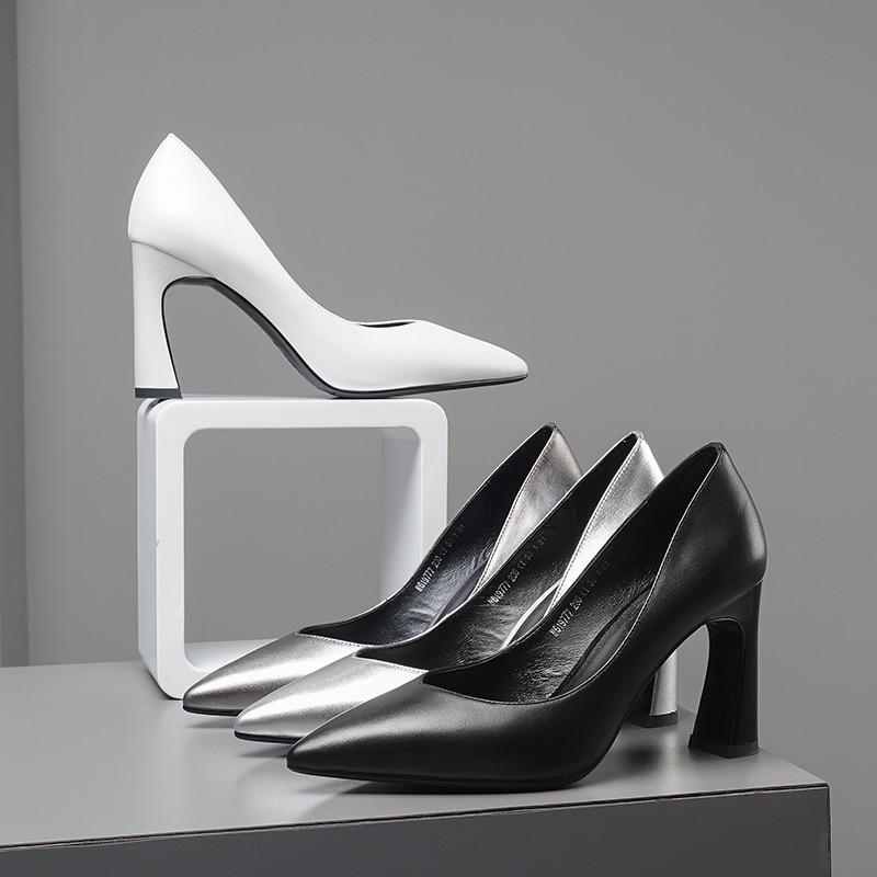 argent Wetkiss Blanc Vache Chaussures Bureau Pompes Femelle Nouveau Noir Talons gris 2019 Cuir blanc Femme De Peu Hauts Femmes Printemps En Profonde Bout Pointu rTBrxz