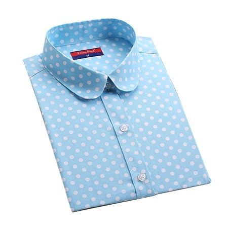 2016 Plus Size Polka Dot Bawełna Kobiety Bluzki Koszule Długie rękaw Kobiety Koszule Turn Down Collar Bawełna Dorywczo Koszula Kobiet topy 9