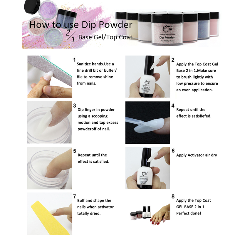 Dipping Powder 4pots lot Nail Art Starter Kit Glitter Without Lamp Cure Dip Powder Natural Dry Long Lasting Accessory French in Nail Glitter from Beauty Health