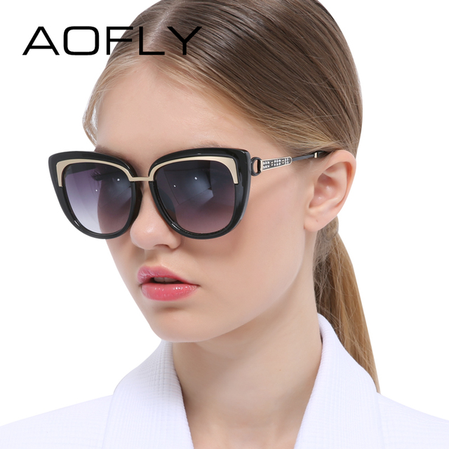 Aofly moda cat eye óculos de sol revestimento de espelho óculos de sol das mulheres designer de marca óculos de sol do vintage colorido quadro shades uv400