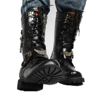 Fashion Men Motorcycle Boots Cool Skull Combat Army Men Boots Punk Goth Biker Men Boots Leather Men Shoes High Top Casual Boot