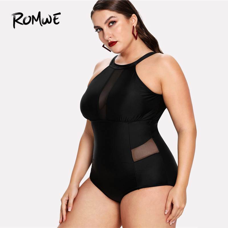Romwe Summer Swimsuit Bikini One-Piece Sport Plus-Size Black Women High-Neck Polyester