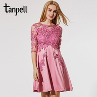 Tanpell Embroidery Cocktail Dress Pink Half Sleeve Patchwork Knee Length A Line Gown Cheap Scoop See