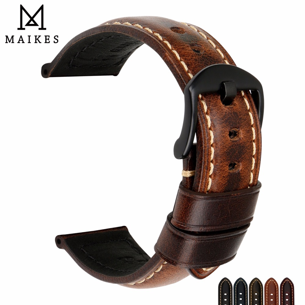 MAIKES Watch Accessories Watch Band 20mm 22mm 24mm 26mm Special Oil Wax Leather Watch Strap Watchbands For Panerai IWC