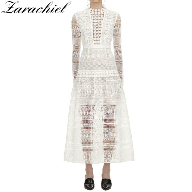 03c91900afea6 US $31.19 20% OFF|Self portrait New Fashion 2019 Spring Summer Women Runway  White Long Sleeve Lace Embroidery Hollow Out Long Dress Female vestido-in  ...
