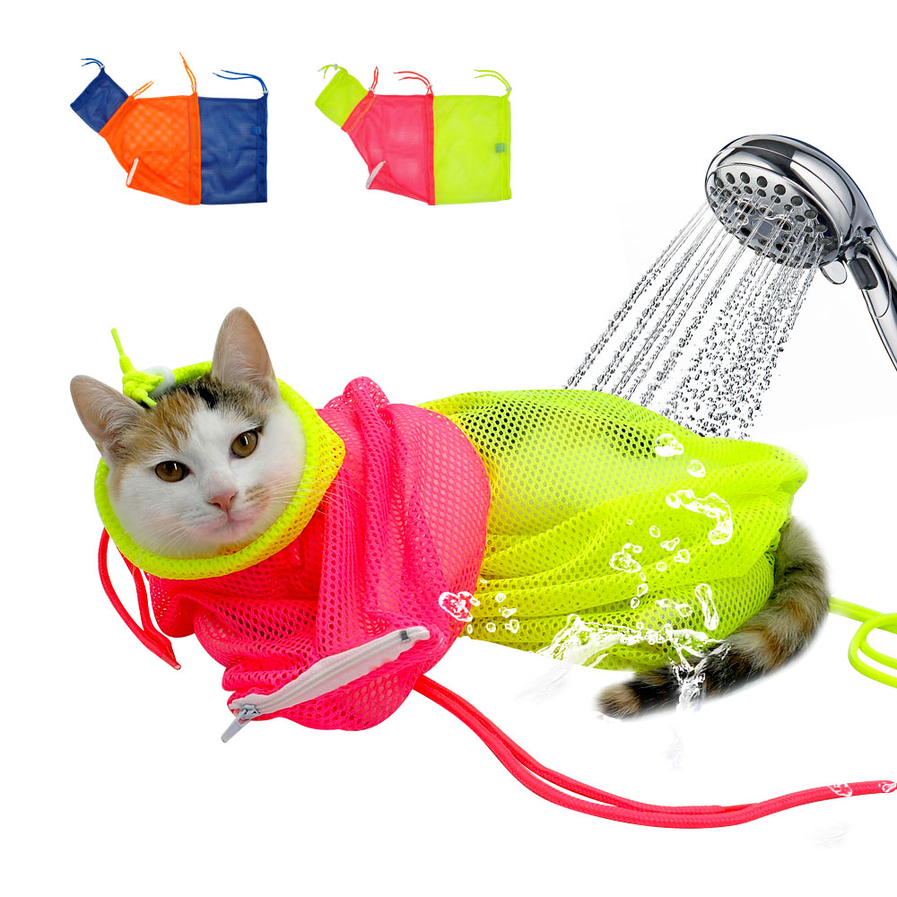 Mesh Cat Grooming Bath Bag Cats Adjustable Washing Bags For Pet Bathing Nail Trimming Injecting Anti Scratch Bite Restraint