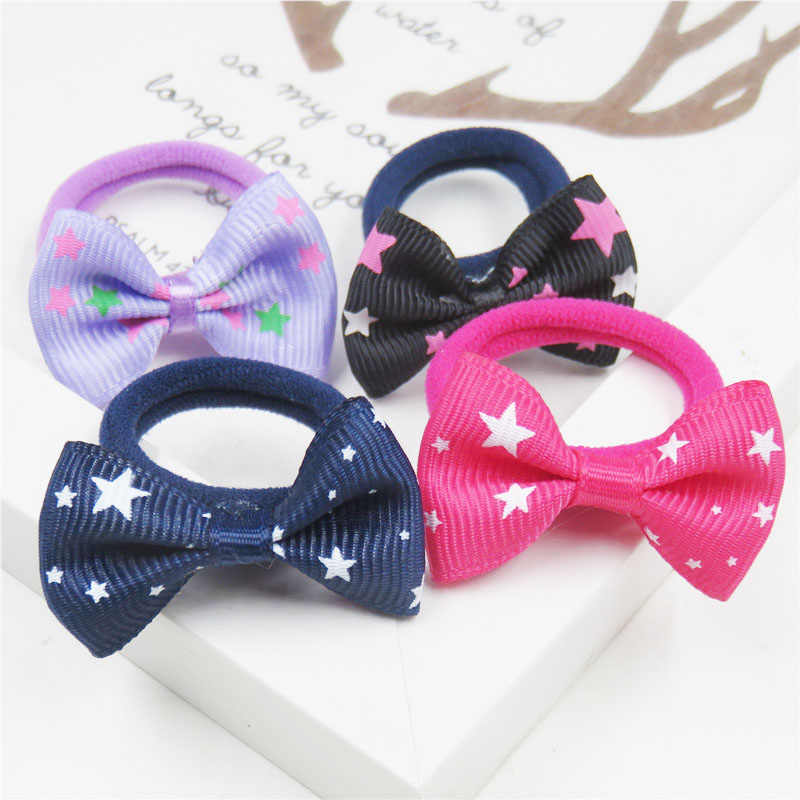 2PCS/LOT Lovely Star Small Bow Hairpin For Girls Hair Tie Child Elastic Hair Bands Scrunchy Clips Hair Accessories For Kids 2019