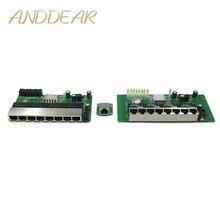 8 port Gigabit מתג מודול הוא בשימוש נרחב LED קו 8 יציאת 10/100/1000 m יציאות מגע מיני מתג מודול PCBA לוח האם