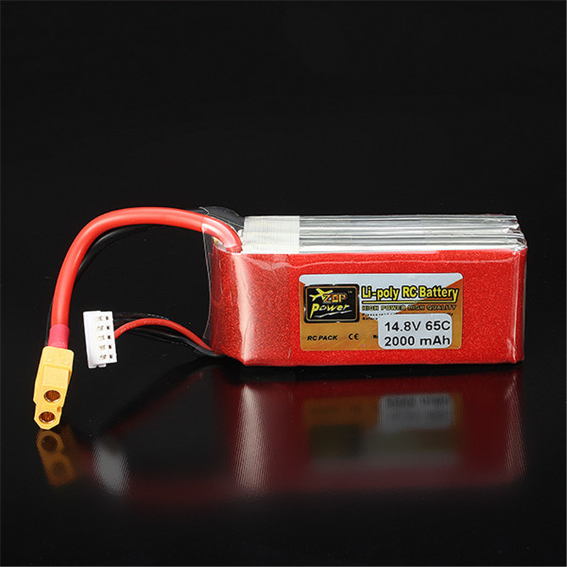 2018 New Original Rechargeable ZOP Power 14.8V 2000mAh 4S 65C Lipo Battery XT60 Plug for Charging Quadcopter Helicopter Parts