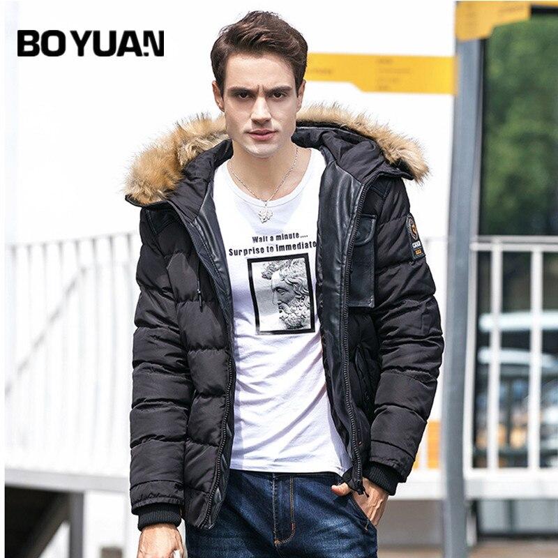 BOYUAN Brand Jacket Men 2017 Winter New Fashion Thick Coat Male Fur Hooded Warm Winter Jacket Men Parka Casual Parkas DSW022 стоимость