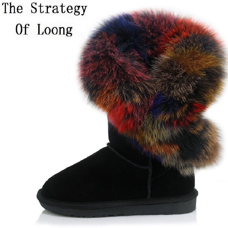 Winter Flat Full Grain Leather Plush Thick Warm Casual Lady Short Boots Leather With Fur Genuine