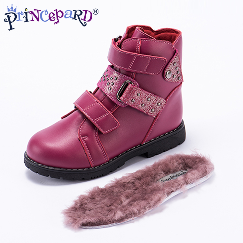 Princeprd 2018 new winter children s orthopedic boots boys girls pink black natural fur lining insoles
