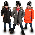 New Winter Jacket Boys Casual Fur Hooded Thick Down Jacket Boys Warm Cotton Parkas Jacket Baby Boy Long Jacket Coat Kids Clothes