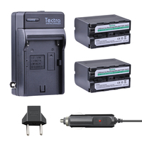 Tectra 2pcs NP F960 NP F970 Camera BATTERY AC Charger Car Plug For SONY NP F960