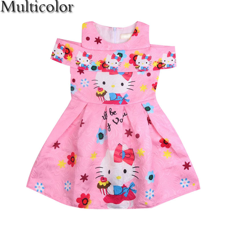 MULTICOLOR New Hello Kitty Dress Incense Shoulder Sleeveless Baby Girl Summer Dress Children clothing Dresses For Girls Costume