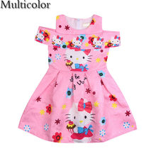 bb00a207d MULTICOLOR New Hello Kitty Dress Incense Shoulder Sleeveless Baby Girl  Summer Dress Children clothing Dresses For Girls Costume