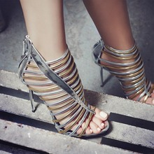 High Quality Wedding Party Dress Shoes Women High Heel Sexy Sandals Fashion Gladiator Strappy Sandals Wholesale Drop Shipping