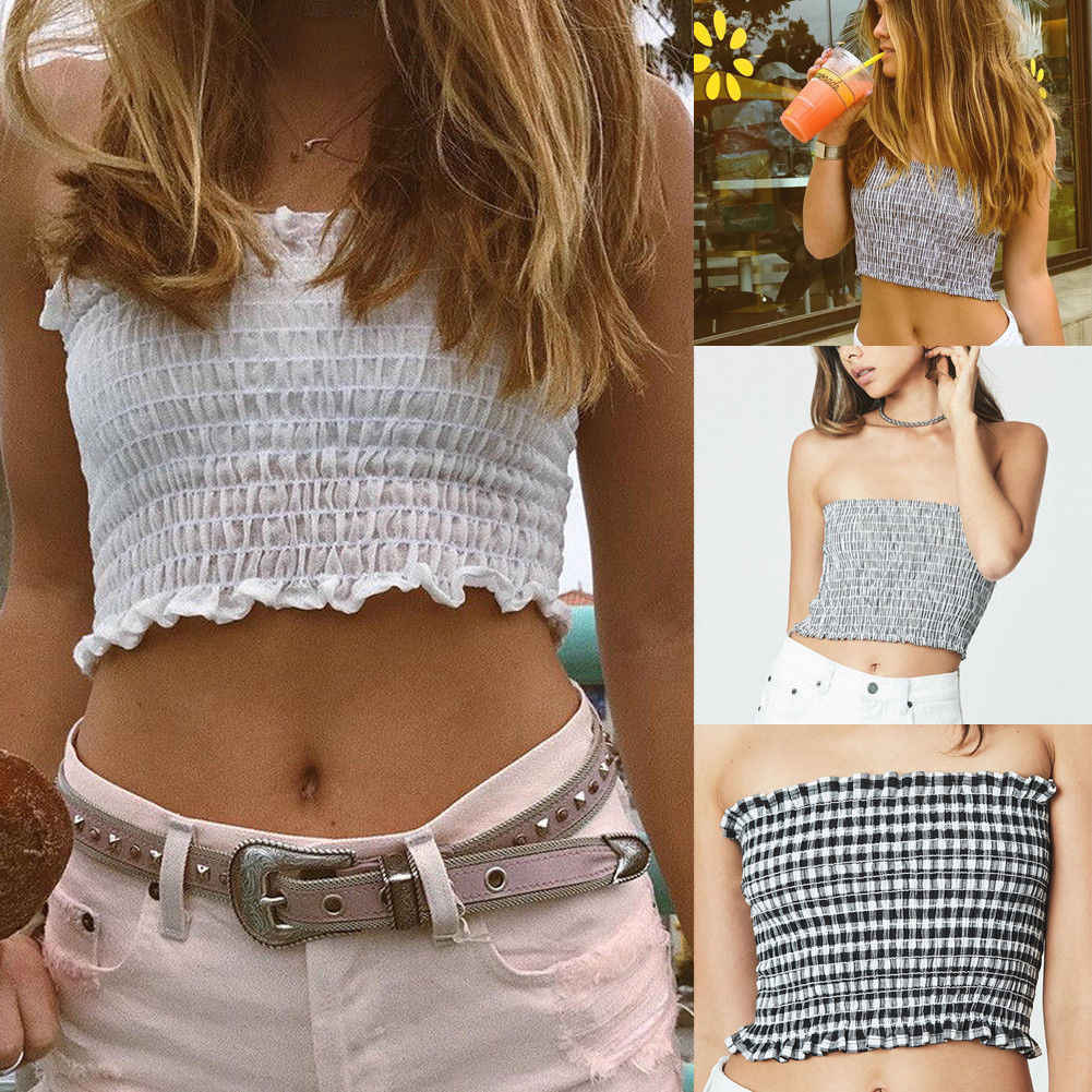 ab465a2bf0a Summer Women Strapless Elastic Tube Tops ulzzang Camis Harajuku Sexy  Bandeau Crop Top New Fashion Female