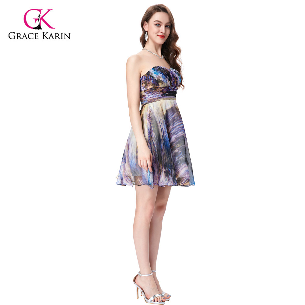 948468ce6 Aliexpress.com  Comprar Gracia Karin Vestidos de cóctel 2018 para la boda  mujeres sin mangas verano vestido formal corto estilo de impresión robe de  cóctel ...