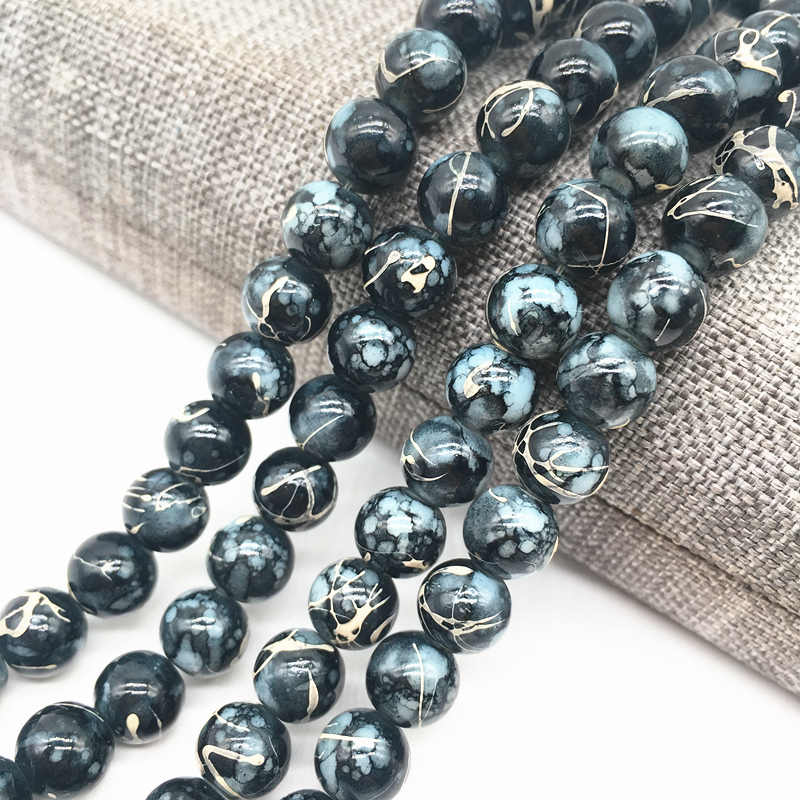 Wholesale 4/6/8mm Black&white Salad Glass Beads Loose Spacer Painted Pearl Charm DIY Jewellery Making #20